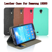For Samsung Leather Black Luxury Flip PU Leather Case Cover For Samsung Galaxy Mega 6.3 i9200 With Card Slot and Stand Holder High Quality 10cs lot