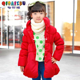 Wholesale Colorful pig children s clothing medium large female child wadded jacket puff sleeve medium long baby wadded jacket red