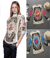 Long Sleeve Cotton  New 2013 To 2014 Autumn Winter Quality Fashion Flower Print Loose Cotton And Wool Casual Blouse Women With XL XXL XXXL