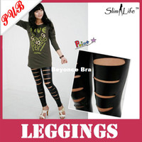 Foot Cover Women Leggings Wholesale Women Sexy Broken Holes Leather Shiny Leggings Pants Trousers 200pcs Free Shipping
