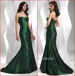 Wholesale Cheap New Emerald Evening Dresses Sweetheart Mermaid Long Sweep Train Ruffle Lace up Women s Elegant Formal Gowns AE