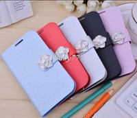 Wholesale Silk flowers iphone4s leather buckle slim phone shell open with Apple about drill protective sleeve