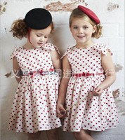 Wholesale Girls Heart Backless dresses with red ribbon dots pink cute girl dresses baby girl kids summer new dresses clothing