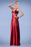 Wholesale 2014 New Arrivals Red Charming A line V Neck Floor Length Cris Cross Beads Crystals Prom Party Evening Dresses