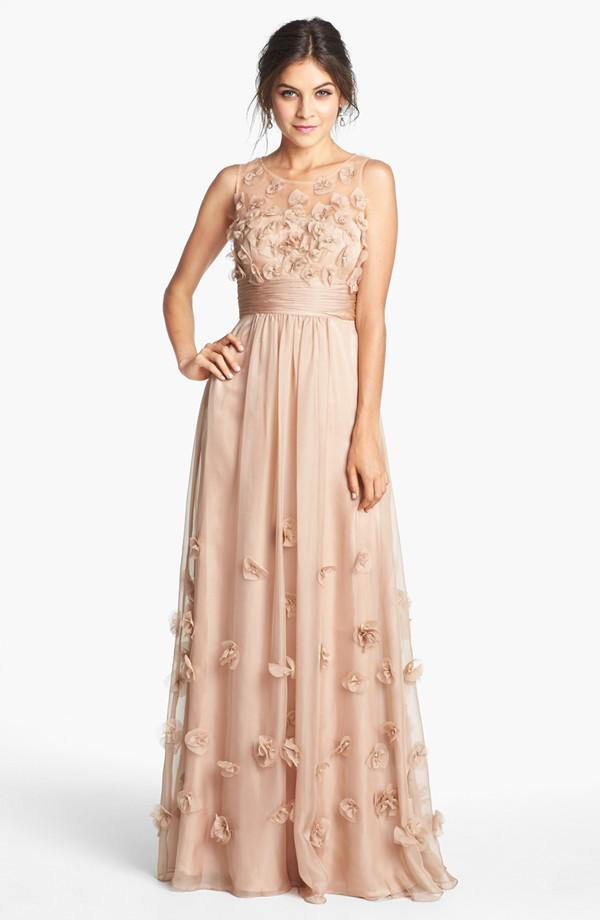2016 Cheap Long Champagne Chiffon Sheer Prom Dresses Vestidos ...