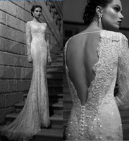 Wholesale Spring Vintage White Bateau Neckline Sweep Train Sequins Appliqued Long Sheer Sleeve Backless Pearls Lace Garden Wedding Dress Bridal Gowns