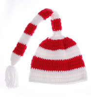 Wholesale Elf Fairy Santa Baby Photo Props Crochet Knitting Wool Red amp White Striped Hat Toddler Infant Christmas Knitted Long Tail Beanie Cap DIY1