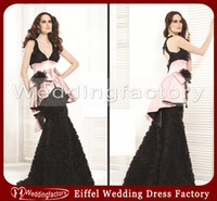 Cheap Mermaid V Neck Black Big Flowers Color Combination Evening Dresses with Peplum and Beading