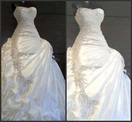 Wholesale Sweetheart Ruffled Taffeta - 2015 Gorgeous A-line Ruffles Sweetheart Strapless Crystal Wedding Dresses Beautiful stunning Bridal Dresses free shipping