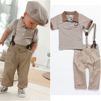 Boy Summer Short Boys Baby Clothes Toddler Set Gentleman Overalls 2pcs Outfit Top Bib Pants Boy striped suit kids Children's Clothing Alince 2014