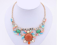 Wholesale NEW Europe Style Fashion Women Necklace Sunflower Blue Crystal Resin Rhinestone Artificial Gemstone Flower Necklaces