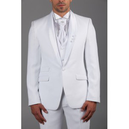 Wholesale New custom made groom tuxedos Shawl Collar one button white man s groom wedding suit prom suits for man