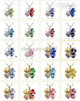 Wholesale 20 Colors K Gold Or Platinum Plated Four Leaf Clover Crystal Necklaces Fashion Nickel Free Women necklace Jewelry Freeshipping JS077