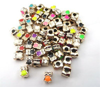 Wholesale 50pcs Mixed multicolor shapes cute acrylic drip rose alloy DIY Bead Large hole mm Jewelry Bracelet beads