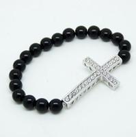 Beaded, Strands sideways cross bracelet - Cross Bracelet For Women Multi Colors Stretch Bead Sideways Cross Bracelets With Rhinestones Pearl Charm Bracelets