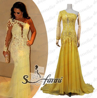 Wholesale Real Sample Fashion Diva Style One Shoulder One Long Sleeve Sheer Back Mermaid Long Ruffle Yellow Chiffon Yellow Lace Beaded Prom Dresses