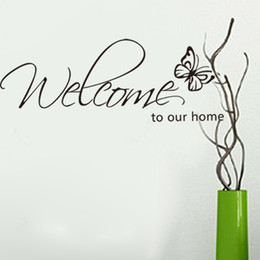Welcome To Our Home Wall Lettering Stickers Black Cute Butterfly Wall Decor Decals For Living Room Bedroom Decoration