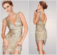 Wholesale Champagne Sequin Sexy Mini Dress - 2016 Hot Sexy Deep V Neck Cocktail Dresses Sequins Top Short   Mini Length Beading Fringe Backless Formal Prom Gown Jov171627 20131010