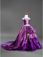 Wholesale Christmas Lovely Purple Satin Flower Girl s Dress Girl s Pageant Dresses Girls Party Dress Birthday Dress Custom SZ RF1226461