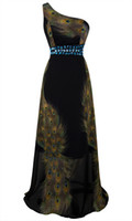 Wholesale One Shoulder Rhinestone Printing Peacock Long dress