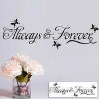Wholesale Always Forever Lettering Wall Decals Art Home Decor Black Butterfly Wall Stickers for Living Room Girls Bedroom