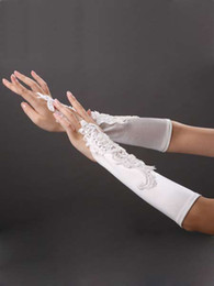 Wholesale 2014 Modern Hot sale Fingerless Lace Beaded long Ivory Bridal Gloves Wedding Accessory