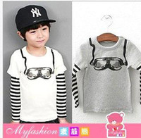 Cheap High Quality Guangdog Kids Clothes Pure Cotton Ski Glasses Baby Boy Cool T Shirts Stripe Kids Tshirt Children Top Shirt QZ449