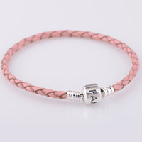 Wholesale Pink Leather Bracelets with Silver Screw ALE made of Solid Sterling Silver European Style Chain PLYL PL008