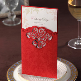 Wholesale Vintage Red Lace Cut out Free Personalized amp Customized Printing Wedding Invitations Cards Custom New