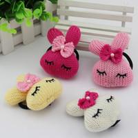 Wholesale Kawaii Kid s Cute Rabbit Bow Hair Accessories Elestic Hair Bands Rope Headwea Hair Jewelry VHJ