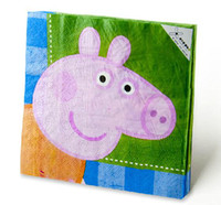 Wholesale Peppa Pig Birthday Party cm Disposable Paper Napkins Cartoon George Pig Party Favor Suppies set Paper Handkerchief