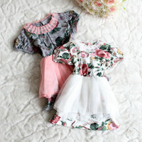 TuTu Summer Pleated Summer princess dress girls kids cotton big flowers printing tulle dress lace collar short sleeve dress children clothing gray white 2608