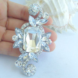 Bridal Wedding Bouquet Flower Brooch Pin W Clear Rhinestone Crystals EE05001C1
