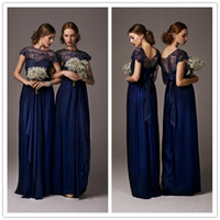 Wholesale Midnight Blue Bridesmaid Dresses with Short Sleeves Sheer Lace High Neck Silk Chiffon Bridesmaid Dress with Ribbon Indianna Lace Maxi Dress