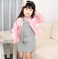 Wholesale Children s sweaters Kids hand knitted cardigan sweater Korean version of the small flowers baby jacket Pink BM