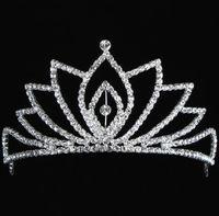 Wholesale In Stock Royal Crowns Shiny Crystals Real Sample Bridal Wedding Tiara Tiaras Hair Accessories head pieces Tiara Crystals Bead