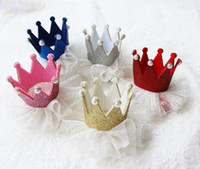 Wholesale Children Hair Accessories Korean glisten crown gauze Baby Girls Barrettes Kids Hair Clips TS109