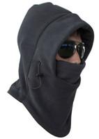 Wholesale Hot Winter Outdoor Thermal Warm in Balaclava Hood Police Swat Skiing Cap Fleece Ski Bike Scarf Wind Stopper Ski Mask Hats