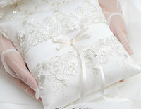 Wholesale 2014 High quality Wedding favors rhinestone white Lace Satin Ring Pillow for Wedding Ceremony Party Stuff Accessories