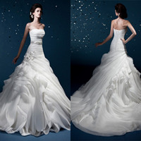 Wholesale 2014 Luxury Sexy Mermaid Strapless Bandage Pleat Belt Beads Ruffles Hand Made Flowers Chapel Train Organza Wedding Dresses