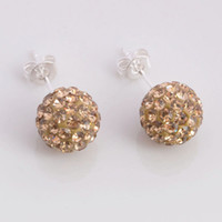 Wholesale New Shamballa Earrings Silver mm Crystal Disco Ball Bead Stud Fashion Earrings pairs