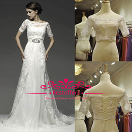 Wholesale custom made Half sleeves bolero with off the shoulder neckline beads and pearls fitted on the lace bodice women night wear bridal jackets