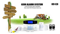 Wholesale GSM SMS Home Burglar Security Alarm System built in speaker for intercom Security Detector Sensor Kit Remote Control free ship