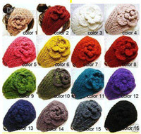 Wholesale HOT SALE Women knitted headband with flower crochet hair headband Handmade hair accessories Mixed