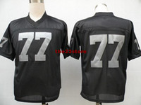 Wholesale Black Raiders Throwback Jerseys Mens Discount Jerseys American Football Jerseys Durable Outdoor Sportswear Top Quality Mix Order