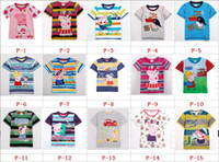 Wholesale Summer Peppa Pig Baby Short Sleeve T Shirt Cotton Embroidery Cartoon Kids Tshirt Child Boy Girl Tshirts Peppa Pig Clothes QZ467