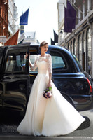 Wholesale - 2014 1 2 Long Sleeve Sheer Wedding Dresses A Lin...