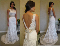 Wholesale 2013 A Line Vintage Wedding Dresses Lace Backless Bridal Gown with Sash