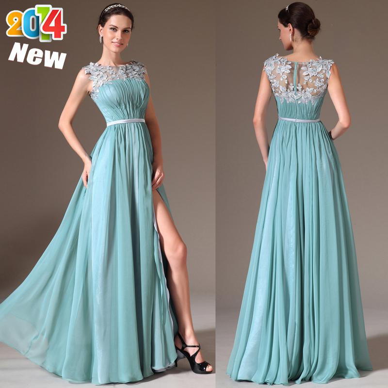 2014 Sheer Neck Evening Dresses Latest Designs A-Line Scoop Lace ...