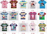 Wholesale Summer Peppa Pig Children Short Sleeve T Shirt Cotton Embroidery Cartoon Kids Tshirt Babies Boy Girl Tshirts Peppa Pig Clothes QZ467